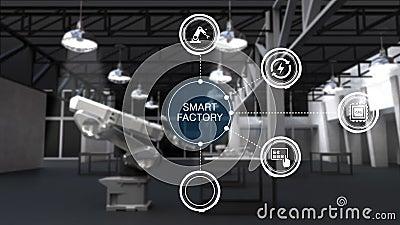 Produto a usar o braço do robô na fábrica esperta Ícone esperto cercado do gráfico da informação da fábrica Internet das coisas 2 ilustração do vetor