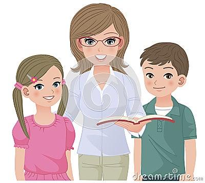 Profesor de escuela joven y alumnos felices
