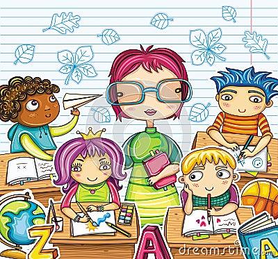Profesor y niños