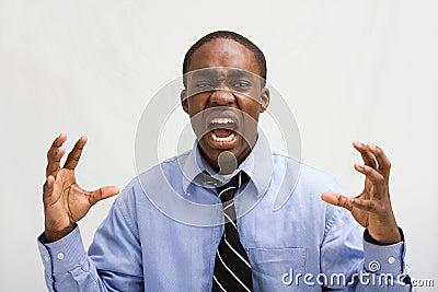 Professiona gritando do negócio
