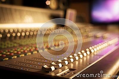 Professional audio equipment in studio