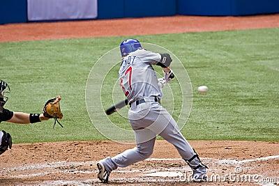 Professional Baseball:  Fontenot up to bat Editorial Stock Photo