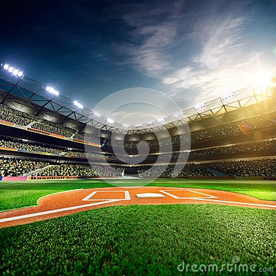 Free Professional Baseball Grand Arena In Sunlight Royalty Free Stock Photo - 53701615
