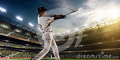 Professional baseball player in action Stock Photo