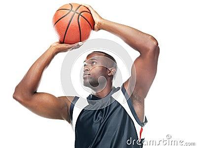 Professional basketball player taking free throw