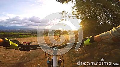 Professional bikers on sport mountain bikes riding biking fast in evening sunset nature landscape in 4k first person pov. Professional bikers on sport mountain stock video