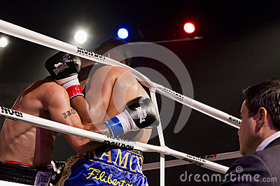 Professional Boxing Against The Ropes Editorial Image