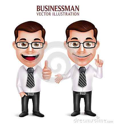 Free Professional Business Man Character With Pointing And OK Hand Gesture Royalty Free Stock Image - 63794346
