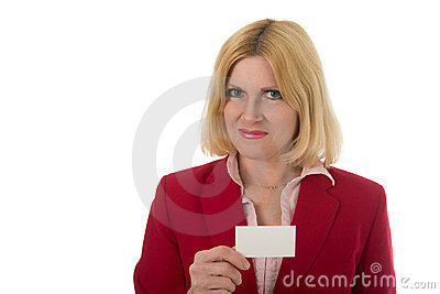 Professional Business Woman Holds Blank Business Card