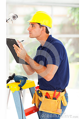 Cctv technician recording
