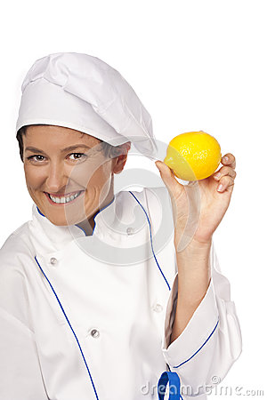 Professional chef with fruit