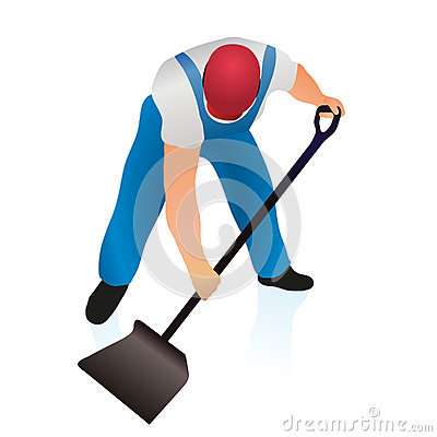 Professional cleaner with  shovel