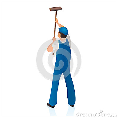 Professional cleaner wiping the wall