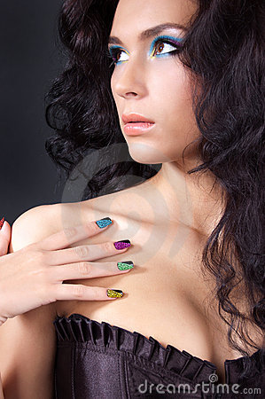 Free Professional Colourful Make-up And Manicure Royalty Free Stock Images - 20299579