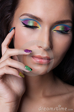 Free Professional Colourful Make-up And Manicure Royalty Free Stock Images - 20299609