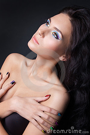 Free Professional Colourful Make-up And Manicure Stock Image - 20299641