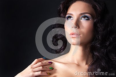 Professional colourful make-up and manicure