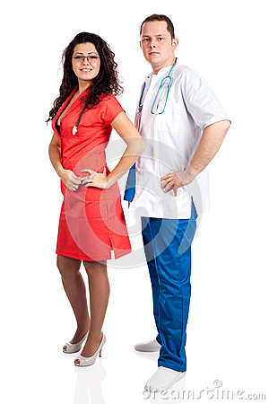 Professional couple of doctors