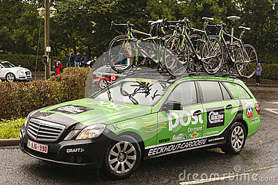 Professional Cycling Support Vehicle Editorial Image