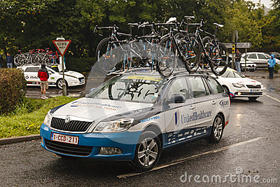 Professional Cycling Support Vehicle Editorial Stock Image