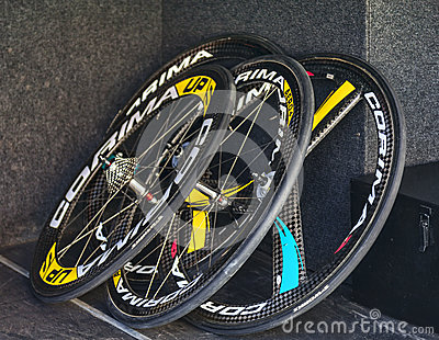 Professional Cycling Wheels Editorial Stock Image