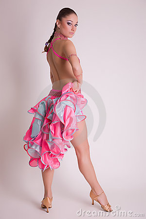 Professional dancer in pink dress