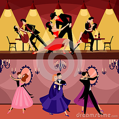 Professional Dancers Horizontal Banners Vector Illustration