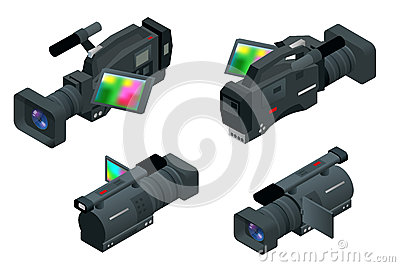 Professional digital video camera. Flat 3d isometric illustration for infographics and design. Camcorders and Equipment. Vector Illustration