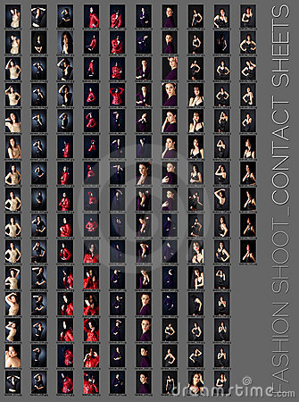 Professional fashion shoot contact sheet