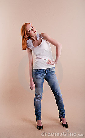 Professional fashionable young red-haired model