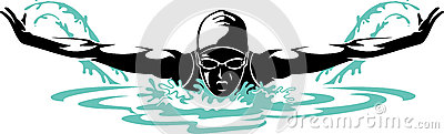 Professional Female Butterfly Swimmer Vector Illustration