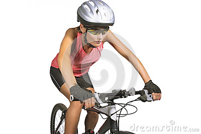 Professional female cycling athlete riding mountain bike and equ