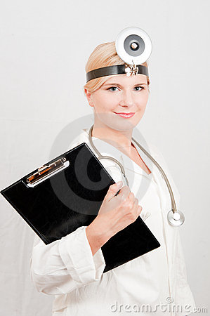 Professional female doctor with folder