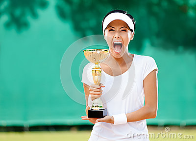 Professional female tennis player won the cup