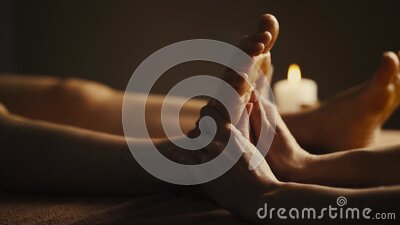Professional foot massage close up. stock footage
