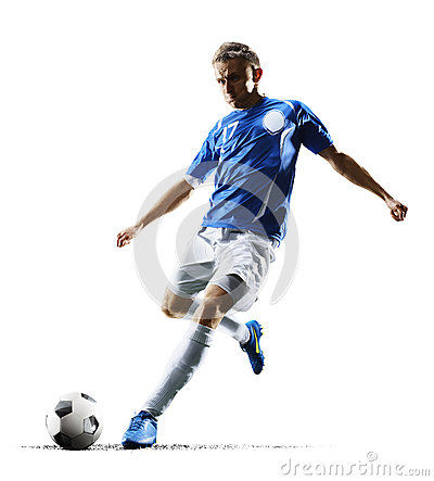 Free Professional Football Soccer Player In Action Isolated White Background Stock Photography - 87885302