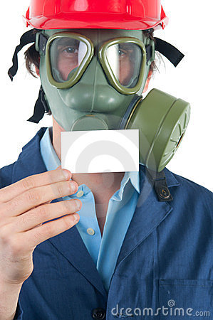 Professional with gas mask and helmet