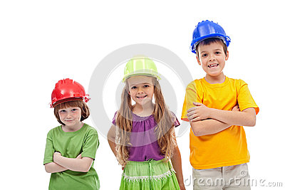 Professional guidance day - kids with hard hats