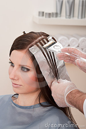 Free Professional Hairdresser Color Customer At Salon Stock Photos - 13086613