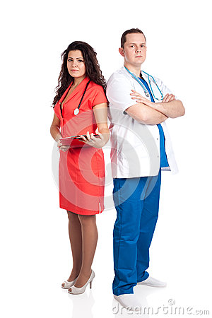 Professional handsome doctor and sexy nurse