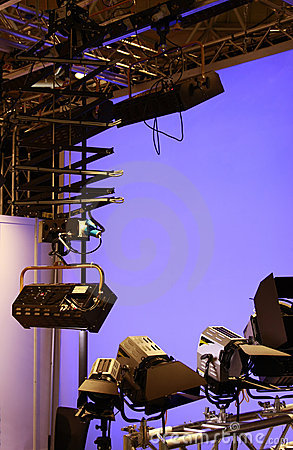 Professional lighting equipment in studio