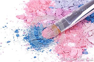 Professional make-up brush on crushed eyeshadows