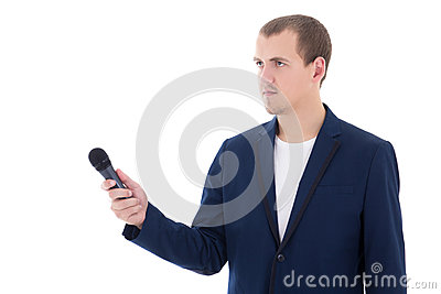 Professional male reporter holding a microphone isolated on whit