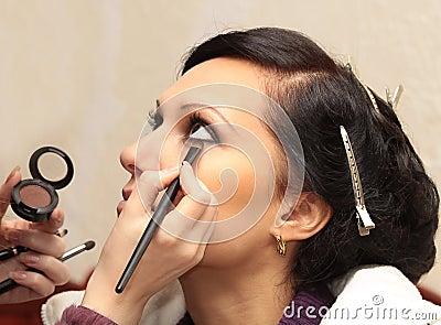 Professional model apply makeup