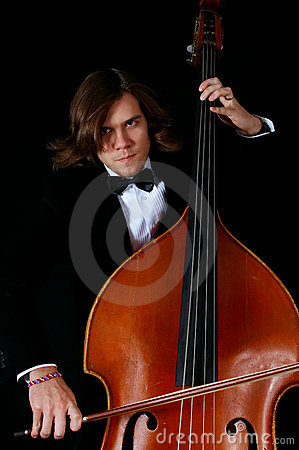 Professional musician playing on a contrabass
