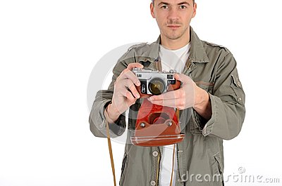 professional photographer with film camera