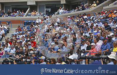 Professional photographers and spectators during US Open 2013 at the Arthur Ashe Stadium at National Tennis Center Editorial Photography