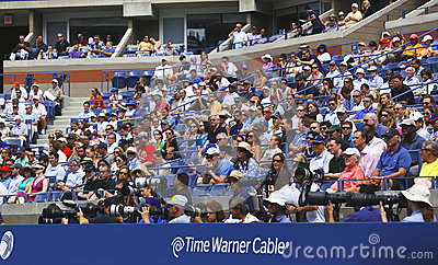 Professional photographers and spectators during US Open 2013 at the Arthur Ashe Stadium Editorial Stock Image
