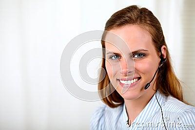 Professional receptionist smiling