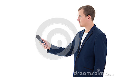 Professional reporter holding a microphone isolated on white bac